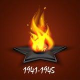 Fuego eterno, ` s, día de fiesta 9 de mayo ruso, Victory Day de San Jorge de la cinta Una tarjeta de felicitación, un día de memo ilustración del vector