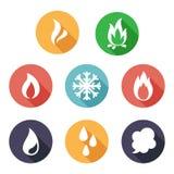 Fuego, helada, vapor, iconos del agua Estilo plano Fotos de archivo