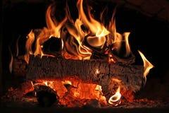 Fuego hermoso en el horno Foto de archivo