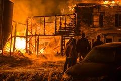 Fuego histórico de la granja de Vermont Fotos de archivo libres de regalías