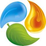 Fuego, hoja, agua Imagen de archivo libre de regalías