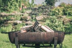 Fuego, llamas de la ascua de madera para la parrilla o la comida campestre del Bbq, humo y le?a al aire libre imagenes de archivo