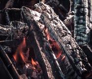 Fuego, llamas de la ascua de madera para la parrilla o la comida campestre del Bbq, humo y le?a al aire libre imágenes de archivo libres de regalías