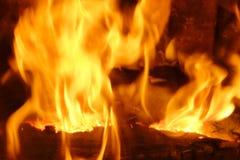 Fuego Madera ardiente en la chimenea Vista lateral Imagen de archivo libre de regalías