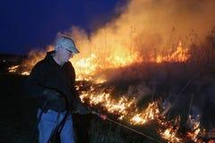 Fuego manejado de la pradera imagen de archivo libre de regalías