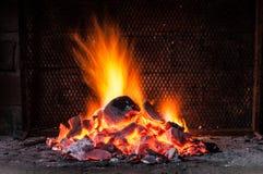 Fuego para la barbacoa Foto de archivo libre de regalías