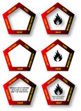 Fuego Pentagon - diagrama de seguridad stock de ilustración