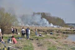 Fuego por el Vístula Imagen de archivo