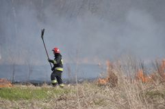 Fuego por el Vístula Fotografía de archivo