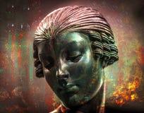 Fuego RETRO abstracto del metal de la exposición doble de la estatua libre illustration