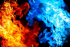 Fuego rojo y azul Foto de archivo
