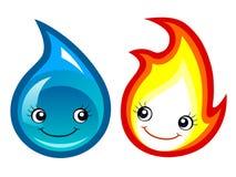 Fuego y agua Imagen de archivo libre de regalías