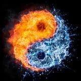Fuego y agua - concepto de yang del yin ilustración del vector