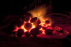 Fuego y chispas con los trazalíneas Imagen de archivo libre de regalías