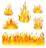 Fuego y ejemplo fijado llamas del vector Elementos del diseño en blanco Fotografía de archivo libre de regalías