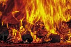 Fuego y llamas en la leña fotos de archivo