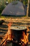 Fuego y tienda que acampan Imagen de archivo libre de regalías