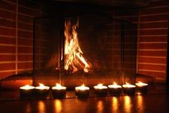 Fuego y velas Imagen de archivo libre de regalías
