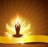 Fuego y yoga de la flor de loto Foto de archivo libre de regalías