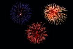 3 fuegos artificiales Imagen de archivo