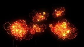 Fuegos artificiales amarillos como fondo de los días de fiesta por Año Nuevo, la Navidad u otros holydays La demostración hermosa ilustración del vector
