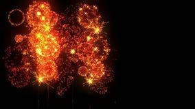 Fuegos artificiales amarillos como fondo de los días de fiesta por Año Nuevo, la Navidad u otros holydays La demostración hermosa stock de ilustración