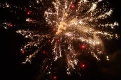 Fuegos artificiales amarillos de la noche Foto de archivo