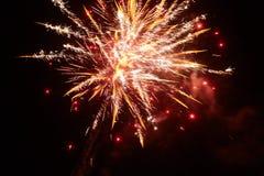 Fuegos artificiales amarillos de la noche Fotos de archivo libres de regalías