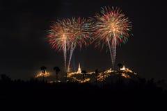 Fuegos artificiales anuales del festival de la provincia de Phetchaburi Fotos de archivo libres de regalías