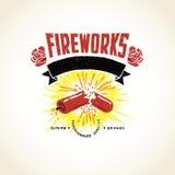 Fuegos artificiales apenados vintage Logo Seal Banner Imagen de archivo