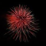 Fuegos artificiales asombrosos verdes rojos imágenes de archivo libres de regalías