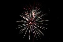 Fuegos artificiales blancos y azules rojos Imágenes de archivo libres de regalías