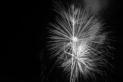 Fuegos artificiales blancos y negros Fotos de archivo