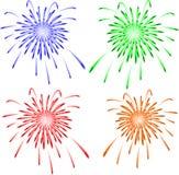 Fuegos artificiales brillantemente coloridos del vector. Vector stock de ilustración