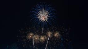Fuegos artificiales brillantemente coloridos en el cielo nocturno Celebrati del Año Nuevo Imagen de archivo libre de regalías