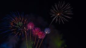 Fuegos artificiales brillantemente coloridos en el cielo nocturno Celebrati del Año Nuevo Foto de archivo libre de regalías