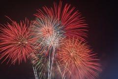 Fuegos artificiales brillantemente coloridos en el cielo nocturno Celebrati del Año Nuevo Fotografía de archivo libre de regalías