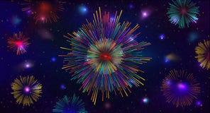 Fuegos artificiales brillantemente coloridos en fondo oscuro ilustración del vector
