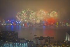2015 fuegos artificiales chinos del Año Nuevo Imagen de archivo