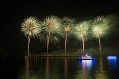 Fuegos artificiales chinos en fondo de la noche fotografía de archivo libre de regalías