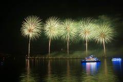 Fuegos artificiales chinos en fondo de la noche fotos de archivo