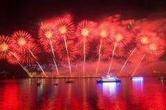 Fuegos artificiales chinos en fondo de la noche imagen de archivo libre de regalías