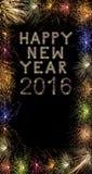 Fuegos artificiales chispeantes coloridos de la Feliz Año Nuevo 2016 con la frontera XXX Fotos de archivo libres de regalías