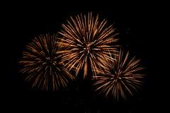 Fuegos artificiales coloridos agradables en el cielo negro Imagen de archivo