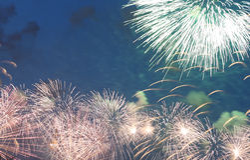 Fuegos artificiales coloridos celebradores Fotos de archivo libres de regalías