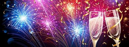 Fuegos artificiales coloridos con champán y confeti stock de ilustración