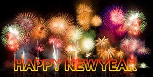 Fuegos artificiales coloridos con Feliz Año Nuevo Imagenes de archivo