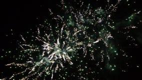 Fuegos artificiales coloridos de la celebración del Año Nuevo Fuego artificial el brillar intensamente, multicolor y de la chispa almacen de metraje de vídeo