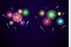Fuegos artificiales coloridos del festival bandera para Diwali y día de fiesta y acontecimiento del ather Ejemplo del vector aisl ilustración del vector