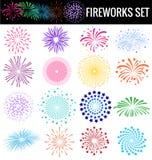 Fuegos artificiales coloridos en el fondo blanco para el cerebation del partido Fotografía de archivo libre de regalías